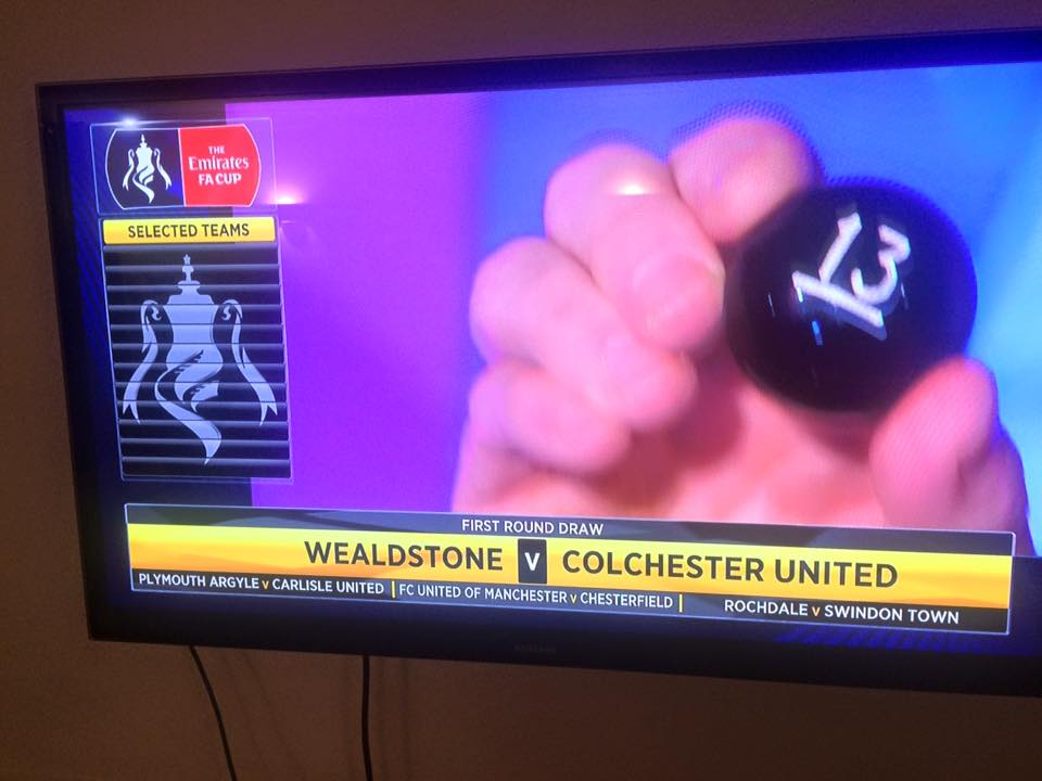 Final ball drawn: Colchester will be away to Wealdstone in FA Cup Round One