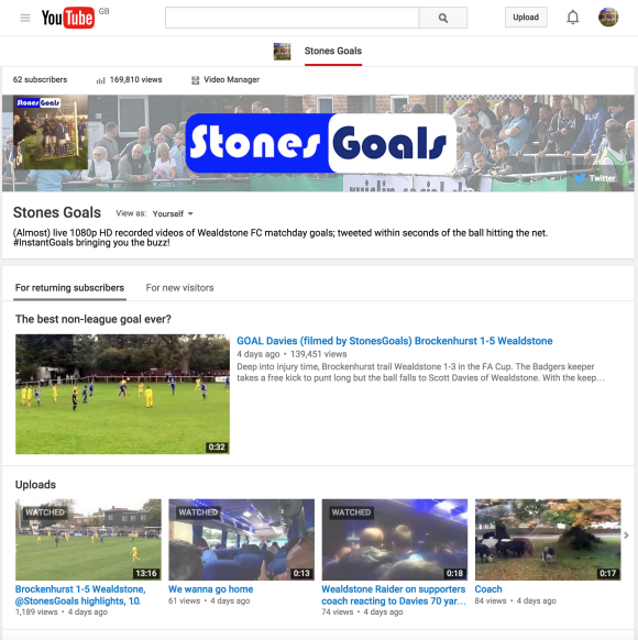 StonesGoals YouTube channel: the quickest way to all match-day content
