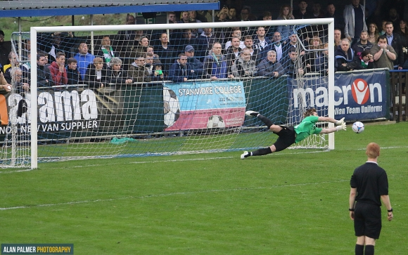 Pen king: North saves second penalty last weekend (pic: Alan Palmer)